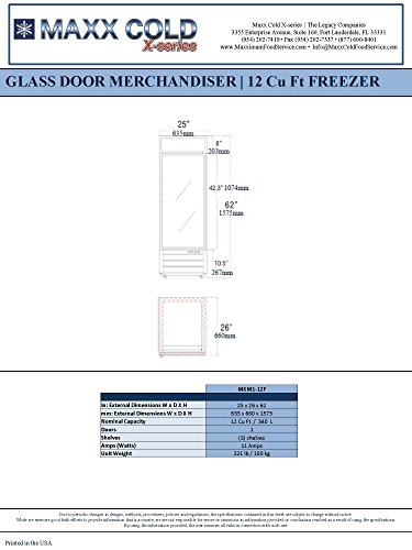 Maxx Cold MXM1-12FB 1 Glass NSF Merchandiser Freezer in -