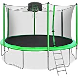 Merax 12FT 14FT Trampoline with Safety Enclosure Net, Basketball Hoop and Ladder, Trampoline for Kids