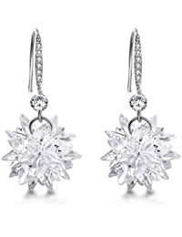 Valentines Gifts Mocalady Jewelers Dangle Earrings With Crystal Cubic Zirconia Winter Snowflake Drop Earrings Fashion Jewelry Christmas Gift for Women