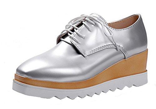 Damen Blend-Materialien Mittler Absatz Schnüren Rund Zehe Pumps Schuhe, Silber, 41 AllhqFashion
