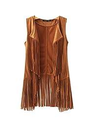 Trendy Women Autumn Black/Khaki Suede Tassels Vests Sleeveless Jacket Fashion