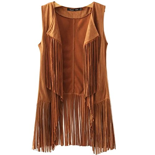 New Tassels Fringe Sleeveless Suede Vest Cardigan Waistcoat Jacket Outwear Tops,Khaki,Medium -