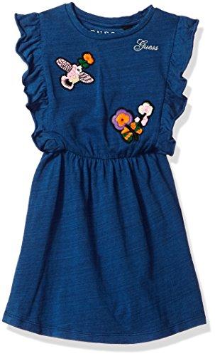 GUESS Little Girls' Sleeveless Ruffle Romper, Indigo, 4 -