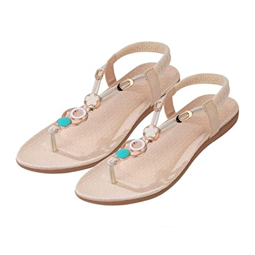 Womail Summer Atificial Gem Flowers Beaded Sandals Clip Toe Sandals Beach Shoes