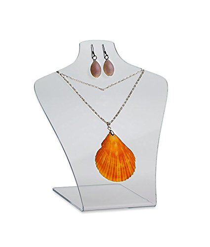 Source One Jewelry Display Bust for Necklaces and Earrings Countertop - Clear