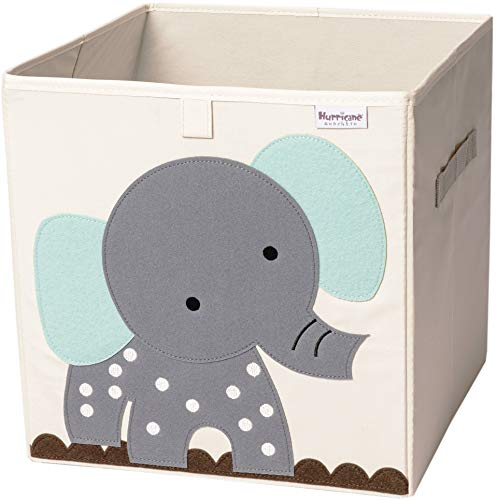 Hurricane Munchkin Collapsible Toy Storage Box   Cube Bin Organizer for Children Toys, Stuffed Animals, Books & Clothes (13 x 13 x 13)   Great for Nursery, Kids Bedroom & Playroom - Grey Elephant