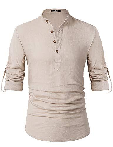 Leisurely Pace Men Transform Roll-up Sleeve Mandarin Henley Neck Linen Shirts (S, 07KH) - Grandad Neck T-shirt