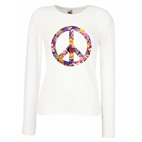 lepni.me T Shirt Women Peace Symbol, 1960s 1970s Hippy Hippie Festival, Peace Sign Flower Summer Hipster Swag (X-Large White Multi Color)