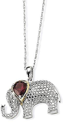 14k Garnet Jewelry Set (ICE CARATS 925 Sterling Silver 14k Red Garnet Diamond Elephant Chain Necklace Gemstone Fine Jewelry Gift Valentine Day Set For Women Heart)