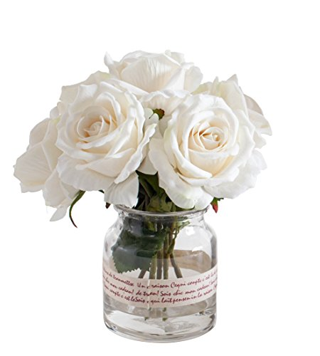 - Fudostar Artificial Silk Roses and Simulated Water in Transparent Glass Vase Wrapped with Braid, Handmade Flower Arrangement, Natural Looking, Simple and Elegant (White)