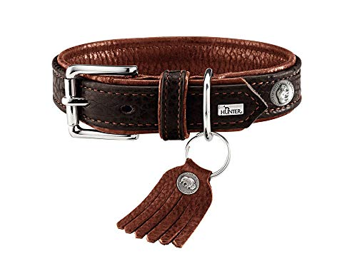 (Hunter Dog Collar Cody (Bison Leather) Unique, Durable and Soft Leather with rustical Pattern with Original and Stylish Leather Tassel - Dark Brown/Cognac - Adjustable 14.5