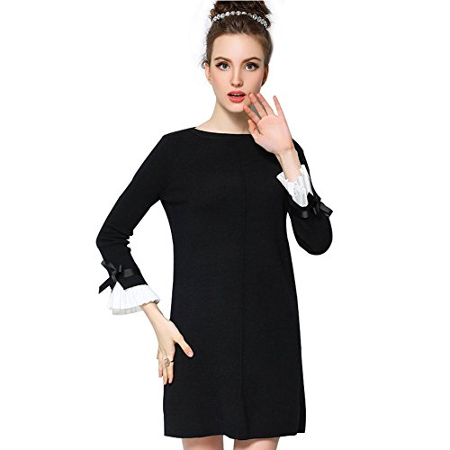 OU-GRID-Womens-Plus-Size-Crewneck-Bow-Flare-Sleeve-Knitted-Sweater-Dress
