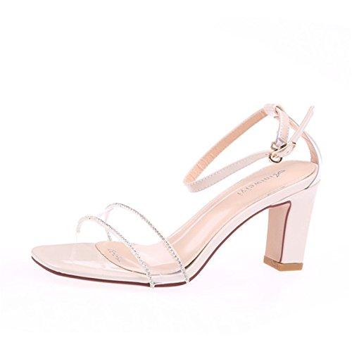 La Pies 8Cm Verano Zapatos Dedos Sandalias Tacon De Shoes Los De Zona Crystal Rough Pelúcida Hollow Beige Taladro KPHY Tacon Cinturon Alto vwq0Y40