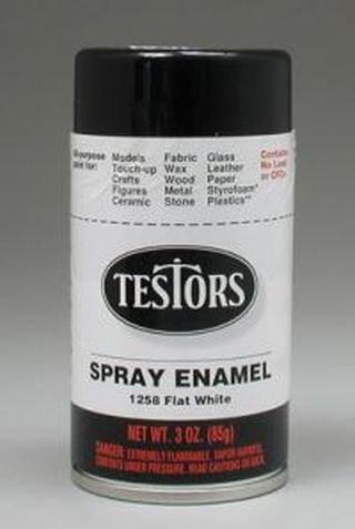 Flat White Spray Testors Enamel Plastic Model Paint ()