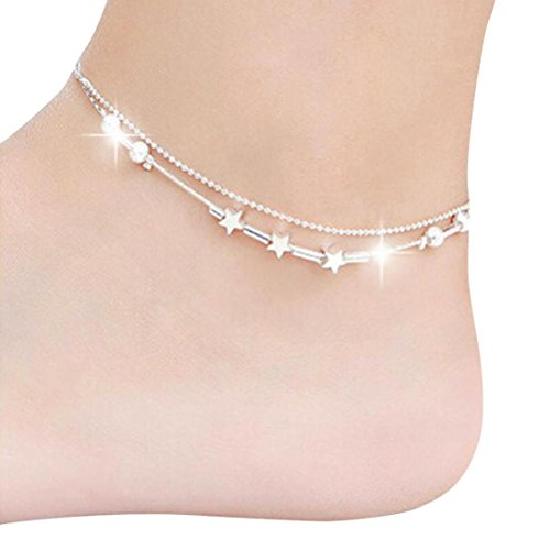 (Hatoys Little Star Women Chain Ankle Bracelet (Silver))