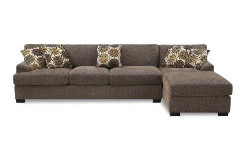 Bobkona Poundex Benford Collection Faux Linen Chaise Sofa, 2-Piece, Slate by BOBKONA