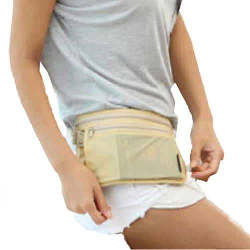 in donna sottile e beige documenti Marsupio da con relogabile tessuto soldi cinghia invisibile uomo porta beige dYRxqqwCO