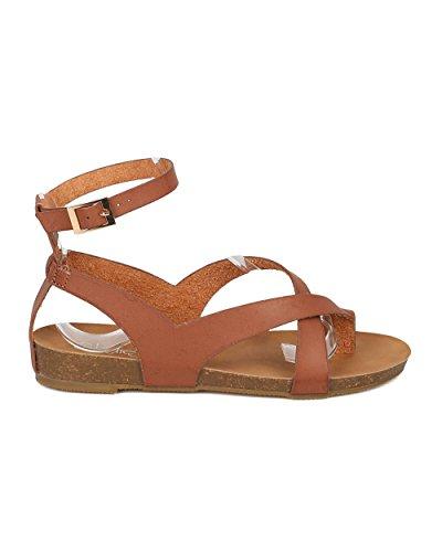Sandalo Gladiatore Alrisco In Similpelle - Comodo, Estivo, Spiaggia, Walker - Sandalo Modellato - Gi56 In Similpelle Marrone