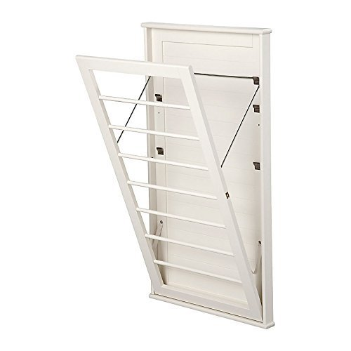 Space Saving Wooden Wall Mount Drying Rack-Large Measures  23W x 2D x 42H inches White