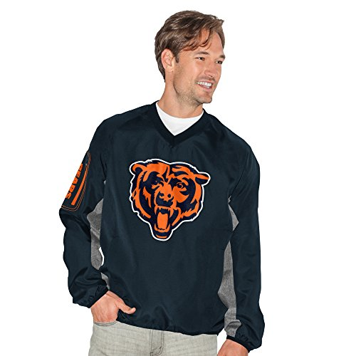 G-III Sports NFL Chicago Bears Adult Men Gridiron V-Neck Pullover, Large, Navy - Chicago Bears V-neck Pullover