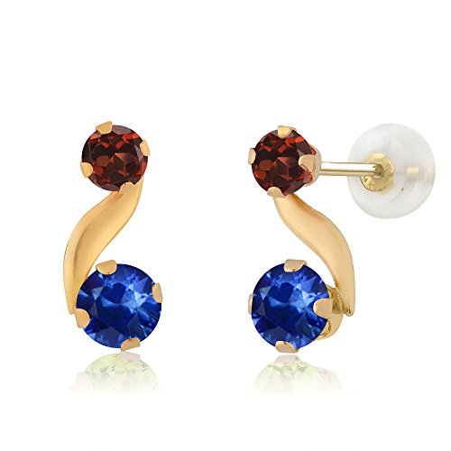 0.96 Ct Round Blue Sapphire Red Garnet 14K Yellow Gold Earrings (Si2 Earrings Si1)