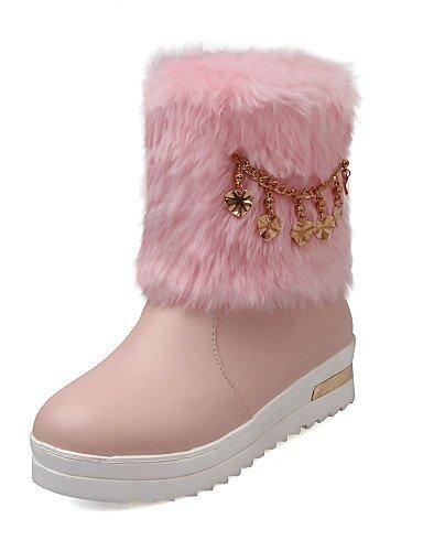 Beige-us5   eu35   uk3   cn34 XZZ  Chaussures Femme - Bureau & Travail   Habillé   Décontracté - Rose   Beige - Plateforme - Bottes de Neige   Bout Arrondi - Bottes -