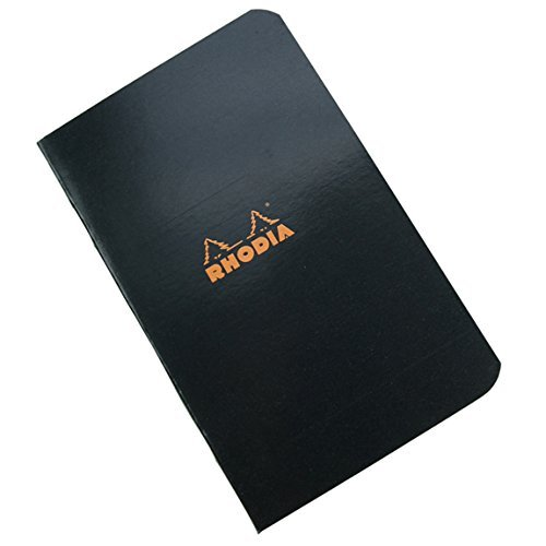 Pack of 5 Rhodia Side Staplebound Black Pocket Notebook (3 X 4.75) by Rhodia