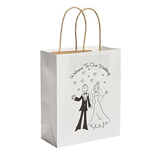 Happy Couple Kraft Paper Wedding Gift Bags 1 Dozen