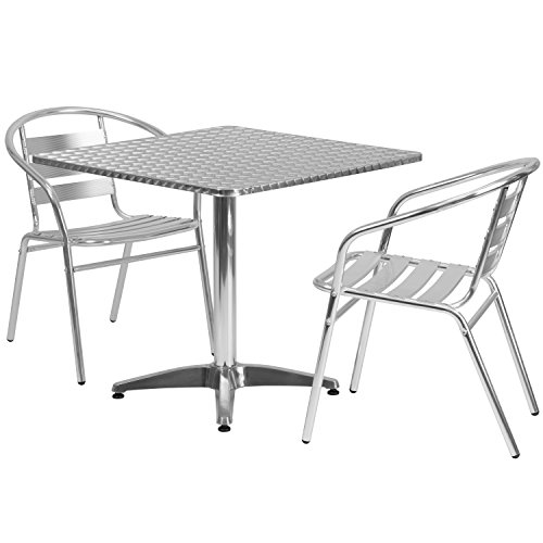 (Flash Furniture 31.5'' Square Aluminum Indoor-Outdoor Table Set with 2 Slat Back Chairs)