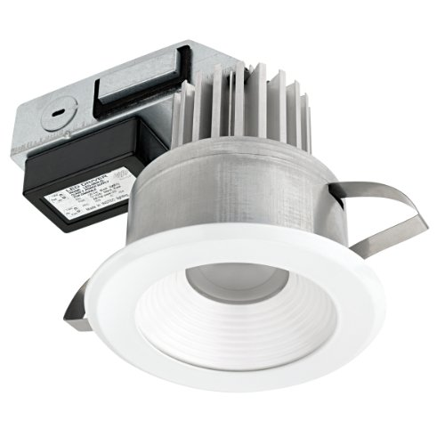 Ic Stepped Baffle Trim (Globe Electric 90073 4 inch LED Integrated IC Rated Regressed Ridged Baffle Recessed Lighting Kit Title 24 Compliant,  Energy Star Certified, White Finish & Baffle)