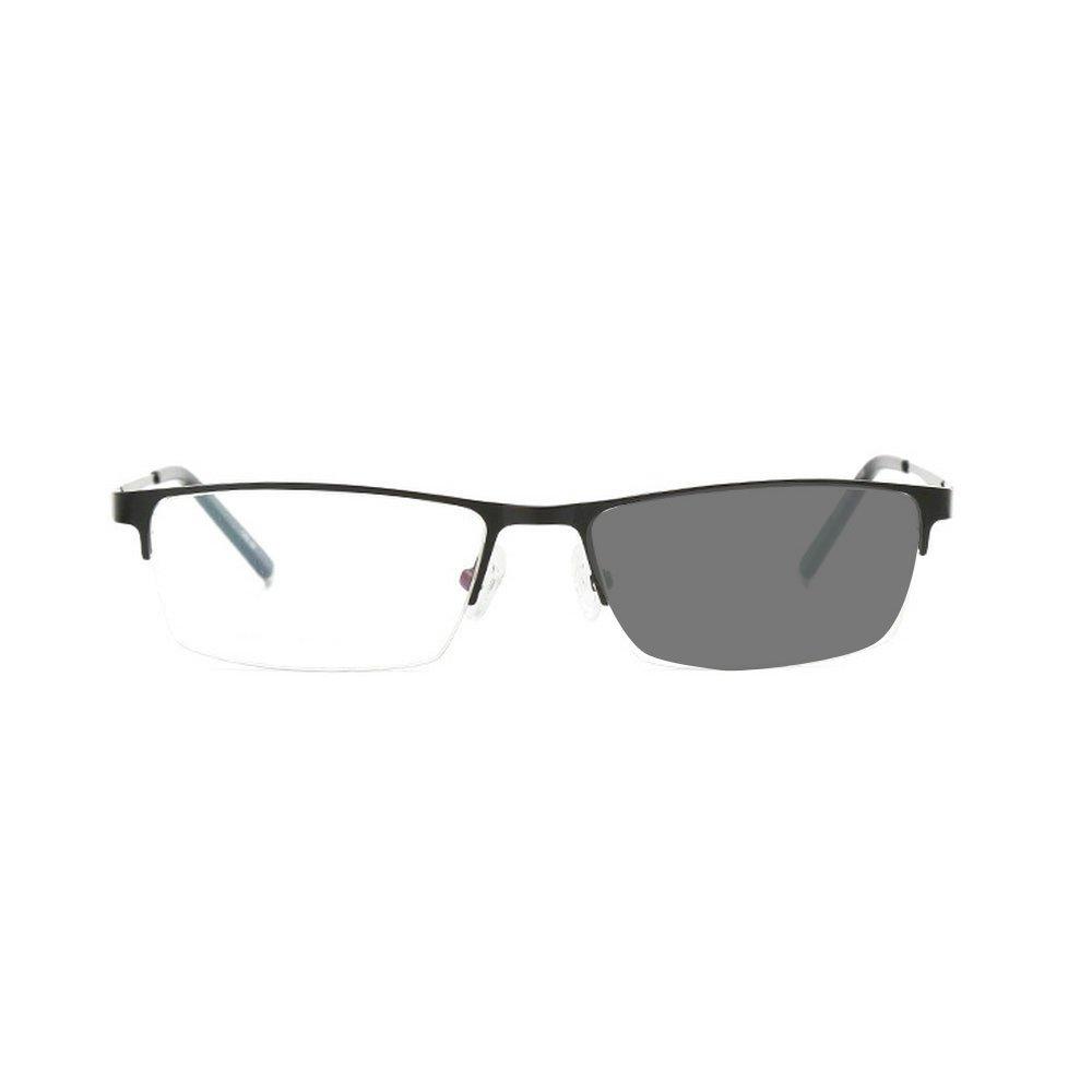 MINCL/Sun Photochromic Fashion Half Frame Myopia Opyical Eyewear for Men Business Design Clear HD Lens (black, -1.0)