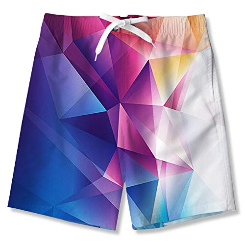 (Swimsuits for Boy Funny Bathing Suits Purple Diamond Swim Trunks 3D Printed Board Shorts Quick Dry Swimwear Adjustable Belt Swimwear with Both Side Pocket 14-16 Years)