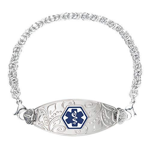 "Divoti Custom Engraved Medical Alert Bracelets for Women, Stainless Steel Medical Bracelet, Medical ID Bracelet w/Free Engraving - Lovely Filigree Tag w/Handmade Byzantine-Deep Blue-7.5"""