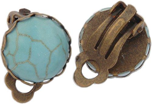 Turquoise Clip Earrings - Clip Earrings, Antique Bronze Turquoise Earrings + FREE GIFT BAG
