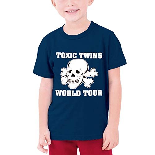 Huiliyuanshiye Fashion 80s Toxic Twins Tour Short Sleeve T Shirts for Boys 100% Cotton Navy M (Toxic Tshirt Twins)