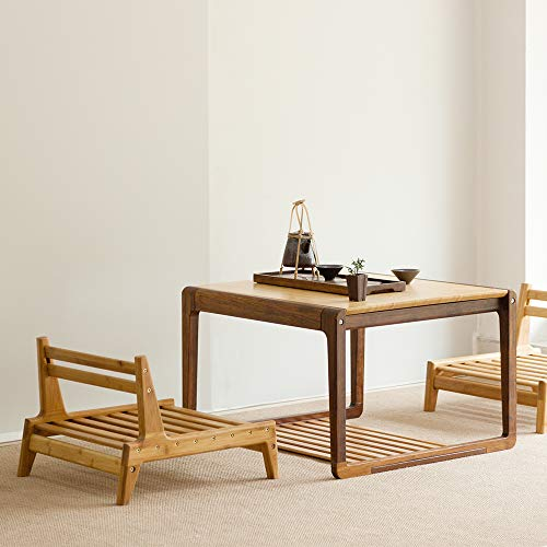 Zen'S Bamboo Coffee Table with Low Storage Shelf Square Chinese Tea Table for Living Room Furniture (Table)