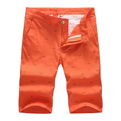 You Fashional New Fashion Mens Linen Shorts Summer Stylish Print Casual Beach Shorts Pants orange (Morph Suit Sizing)
