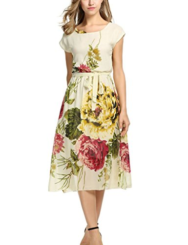 OURS Women's Bohimian Long Dresses Loose Casual Midi Dresses (XL, Apricot 2)