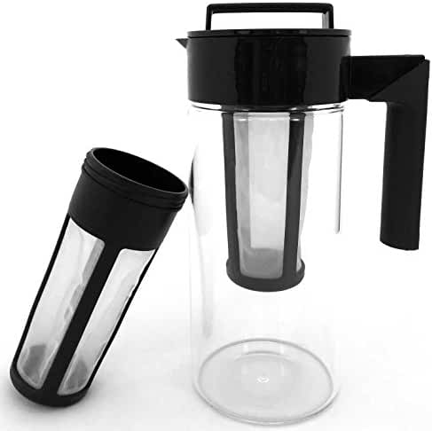 Cold Brew Coffee Maker - Tea Infuser | 2 Reusable Filters Included To Make Cold Press Coffee and Cold-Brew Iced Tea | 1.4 quart Glass Pitcher - Carafe - by CLC