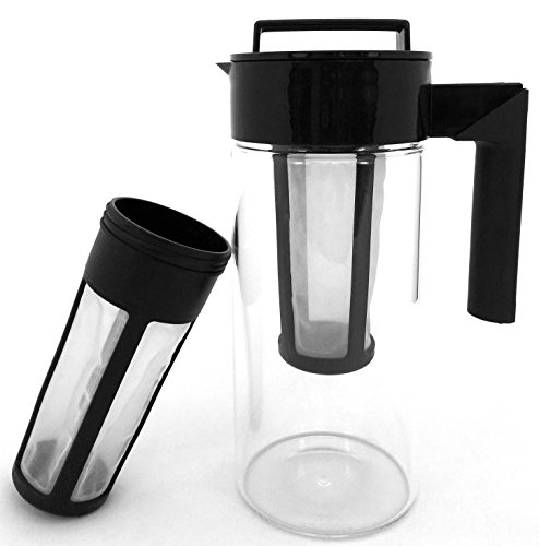 Cold Brew Coffee Maker - Tea Infuser   2 Reusable Filters Included To Make Cold Press Coffee and Cold-Brew Iced Tea   1.4 quart Glass Pitcher - Carafe - by CLC