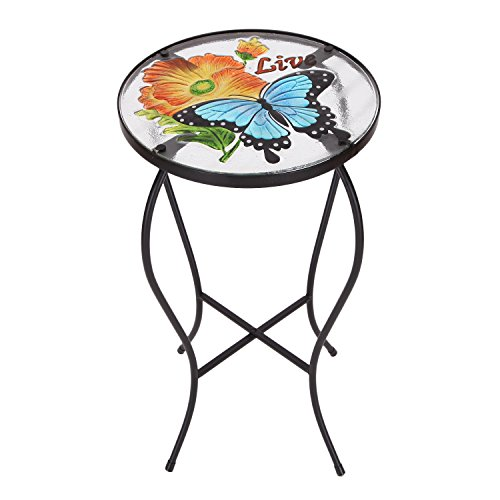 Homebeez Outdoor Indoor Standard Plant Stand Plant Stand Top Round Side Table End Table (Butterfly + Flower) - Round Top Plant Stand