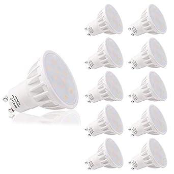 LOHAS No-Regulable 6Watt GU10 LED Bombillas, Equivalente a 50Watt Lámpara Incandescente, Blanco