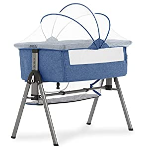 Dream On Me Lotus Bassinet & Bedside Sleeper in Blue