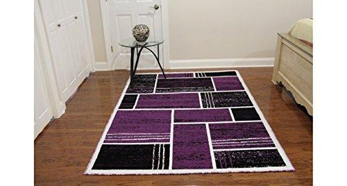 Printed Rectangles and Squares Fashionable Area Rug, Eldorado Modern Design, Elegant and Contemporary Area Rug (5'3″X7'2″, Purple) Review
