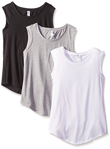 Alternative Women's The 3 Luxe Crew Cap Sleeve Shirt Set, Black/Grey/White, L