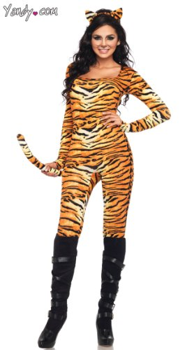Leg Avenue Women's 2 Piece Wild Tigress Catsuit Costume, Orange/Black, -