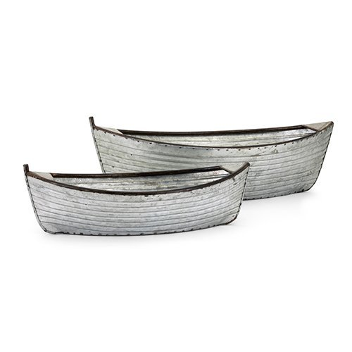 - Imax 60284-2 ((Set of 2) Boat Planters Containers, Silver
