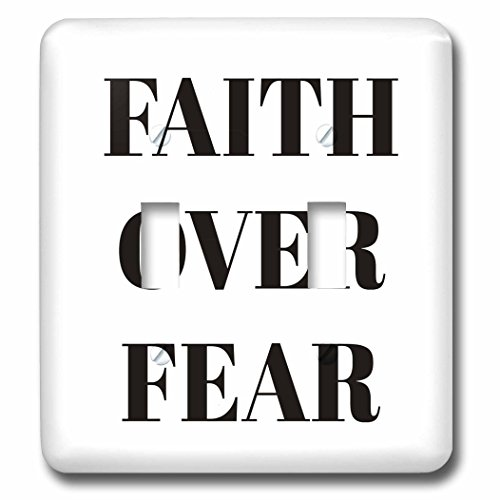 3dRose Xander inspirational quotes - Faith over fear, black letters on a white background - Light Switch Covers - double toggle switch (lsp_265911_2) by 3dRose