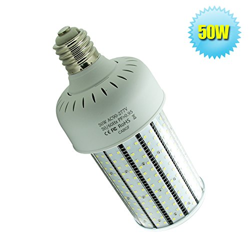 250w Mercury Vapor Bulb (175 Watt Mercury Vapor Replacement LED 50W Corn Bulb E39 Mogul Base 6000K Crystal White for Garage,Church,Street Area Lighting)