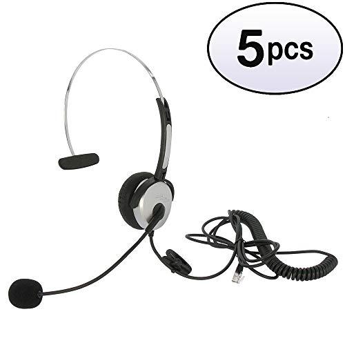 GOWOS (5 Pack) Corded Office Headset/Microphone, RJ22(Handset) Plug, HSM-1001RJ
